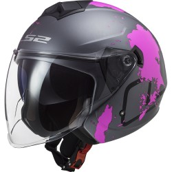 CASQUE LS2 OF573 TWISTER II XOVER TITANIUM PURPLE