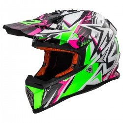 CASQUE LS2 MX437 FAST STRONG WHITE GREEN PINK