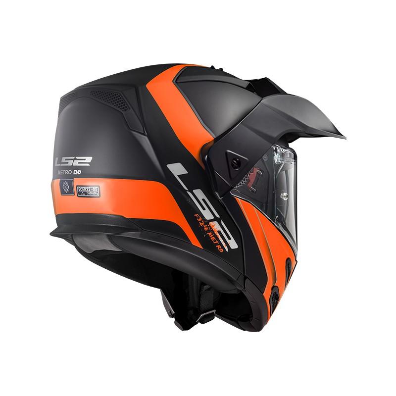 Casque Ls2 Ff324 Metro Evo Rapid Matt Black Orange Vide Motocom