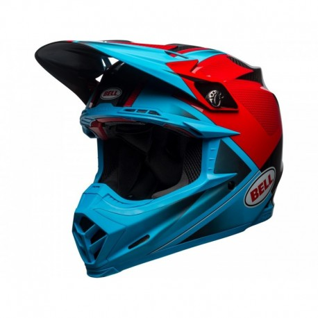 CASQUE BELL MOTO-9 FLEX HOUND CYAN/ROUGE