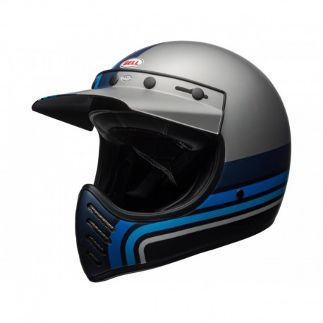 CASQUE BELL MOTO 3 STRIPES SILVER/NOIR/BLEU