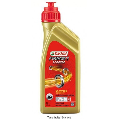 HUILE SCOOTER 4T 5W40 100% SYNTHESE POWER1 CASTROL 1L