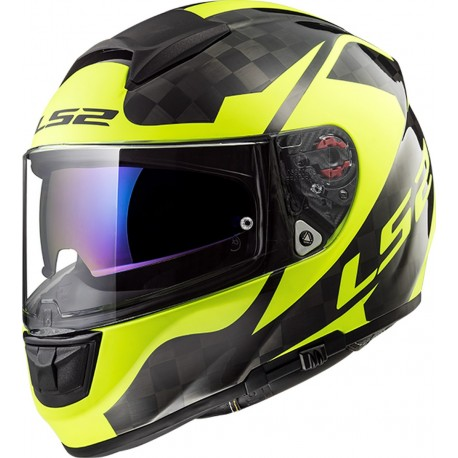 CASQUE LS2 FF397 VECTOR CT2 CARBON SHINE H-V YELLOW