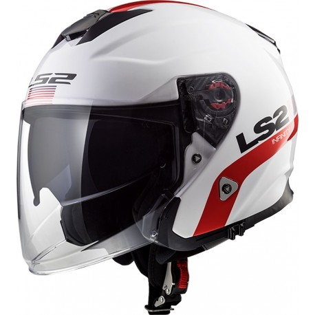 CASQUE LS2 OF521 INFINITY SMART WHITE RED