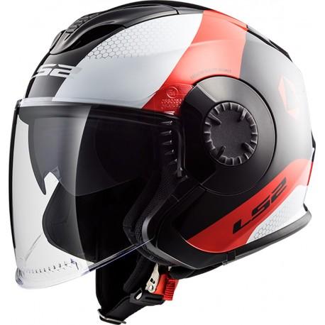 CASQUE LS2 OF570 VERSO TECHNIK BLACK WHITE RED