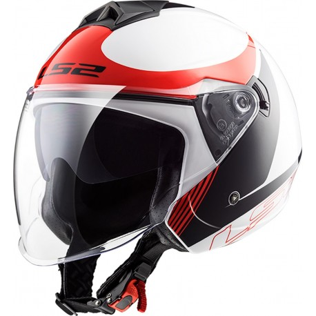CASQUE LS2 OF573 TWISTER PLANE WHITE BLACK RED