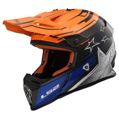 CASQUE LS2 MX437 FAST CORE MATT BLACK GLOSS ORANGE