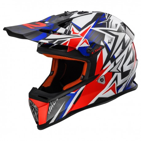 CASQUE LS2 MX437 FAST MINI STRONG WHITE RED BLUE